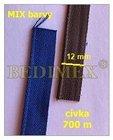bavlněná zdrhovadlovka 12 mm barvený MIX